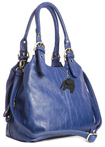 BHBS Femmes Plusieurs Ppoches Taille Moyenne Plaine Sac à Bandoulière Avec Une Longue Courroie 33x26x13 cm (LxHxP), Bleu - Bleu électrique, One