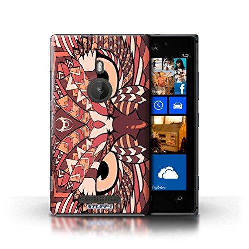 Coque en plastique pour Nokia Lumia 925 Collection Motif Animaux Aztec - Loup-Bleu Hibou-Rouge