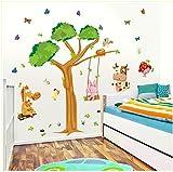 ufengke® Großer Baum und Niedliche Kuh Kaninchen Esel Schmetterlinge Wandsticker, Kinderzimmer Babyzimmer Entfernbare Wandtattoos Wandbilder