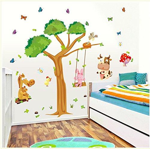 ufengke® Grand Arbre et Mignons Papillons Vache Lapin D'Âne Stickers Muraux, La Chambre des Enfants Pépinière Autocollants Amovibles