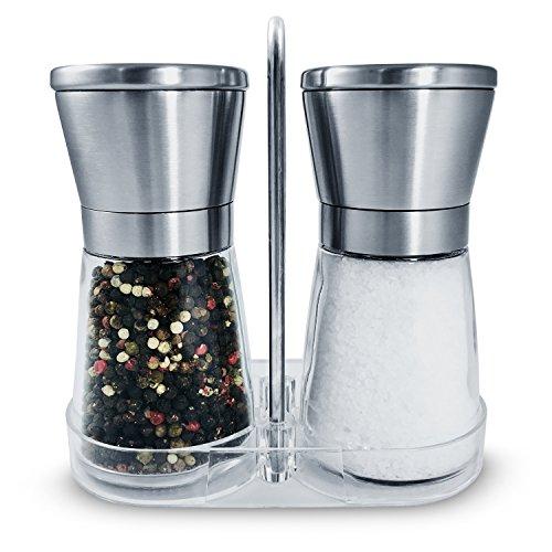 Glas Edelstahl Top (Salz und Pfeffer Mühle 2er Set mit Keramikmahlwerk + Ständer – Nachfüllbare Design Gewürzmühle leer | Salzmühle Pfeffermühle aus Edelstahl + Glas mit verstellbarem Keramik Mahlwerk grob fein)
