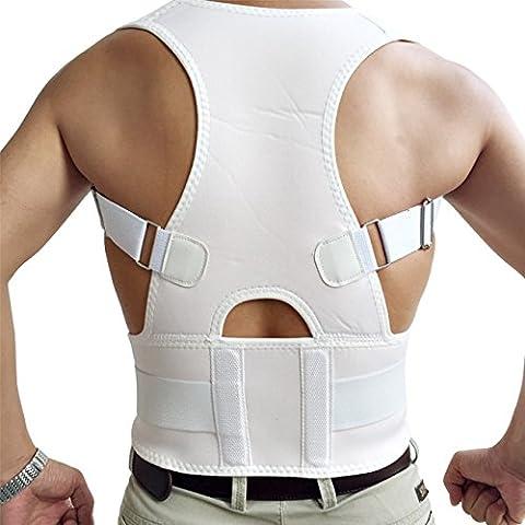 Unisex Neopren 10 Magnete Verstellbare Atmungsaktive Schulter Rückenbandage für Haltungskorrektur Weiß XL