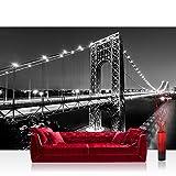 Vlies Fototapete 208x146cm PREMIUM PLUS Wand Foto Tapete Wand Bild Vliestapete - Architektur Tapete Brücke Golden Gate Bridge Nacht Wasser Himmel schwarz weiß - no. 2251
