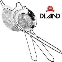DLAND [Set 3] in acciaio inox a maglia fine Filtro Scolapasta Setaccio con la maniglia per alimento della cucina di riso alle verdure