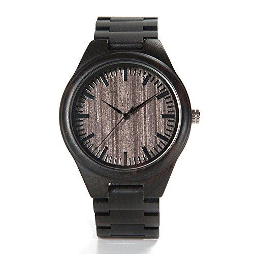 Bobo Bird Herren Ebenholz Armbanduhr *Dark Star* in Braun/Schwarz mit Einem Gliederarmband Handgefertigt Quarz Analog Uhr inkl. Geschenkbox