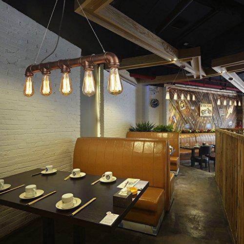 5Köpfe E27Retro Industrie Stil Wasser-Rohr Pendelleuchte Vintage Metall Inhaber Loft Bar Deckenleuchte Anhänger Licht Eisen -