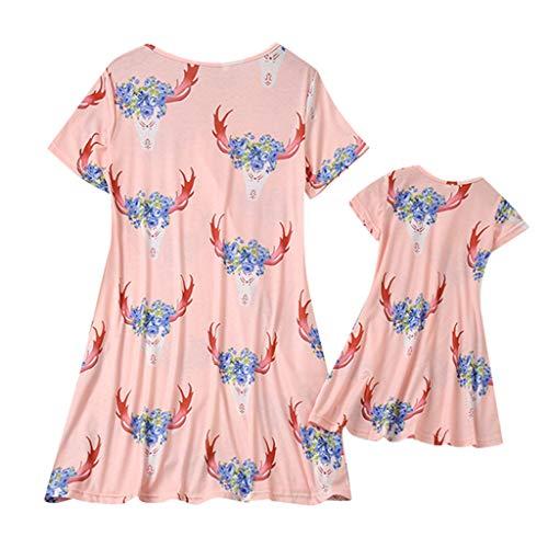 Cooljun Mama und ich Kleidung Familie passenden Kleid Mama & ich Frauen Kurzarm Oansatz Blumendruck Rock Familie Kleidung Kleid (Ninja-kleidung Zum Verkauf)