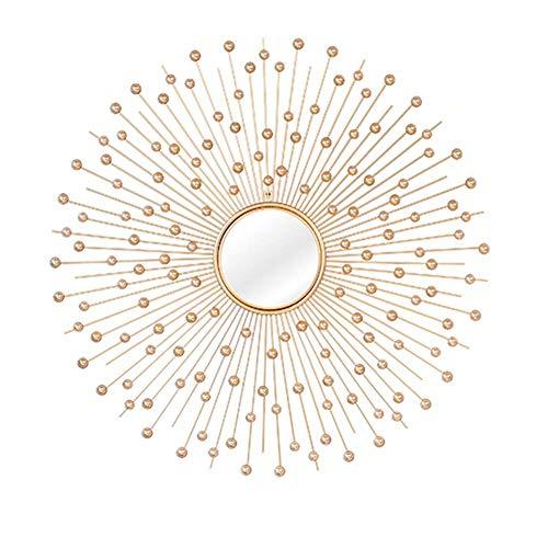 Cqing Metall dekorative Starburst Spiegel runden hängenden Spiegel in Sunburst-Form für Home Decor Wohnzimmer Küche, Durchmesser 31 Zoll (Vintage Sunburst Spiegel)
