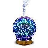 Diffuser mit Abschaltautomatik, 100ml 3D Glas LED mit 16 Farben Luftbefeuchter, Oil Düfte...