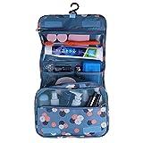 Shopper Joy Nylon Kulturtasche Kulturbeutel zum Aufhängen Kosmetiktasche Waschtasche Reisetasche für Damen Herren für Reise Zugreise Camping Outdoor Aktivitäten - Blaue Blümchen