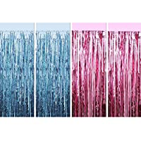 Blulu 4 Pieces Foil Curtains Fringe Curtains Metallic Tinsel Curtains for Baby Shower Gender Reveals Photo Props