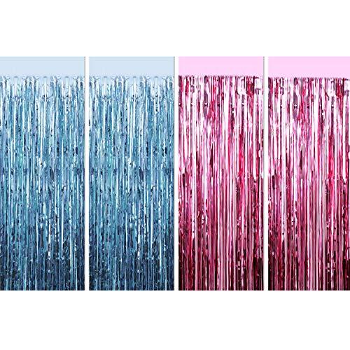 Blulu 4 Stück Folien Vorhänge Fransen Vorhänge Metallisch Lametta Vorhänge für Baby Dusche Geschlecht Enthüllt Foto Requisiten -