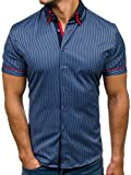 BOLF Herren Hemd mit Knopfleiste Kurzarm gestreift Slim Fit BOLF 4505-1 Dunkelblau L [2B2]