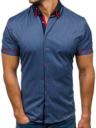 BOLF Herren Hemd mit Knopfleiste Kurzarm Gestreift Slim Fit 4505-1  Dunkelblau S  2B2  bd270757f0