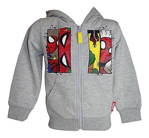 Jungen Zip Jacke Kapuzenpullover Olaf Cars Spiderman (116, Spiderman grau) (Jacke Cars)