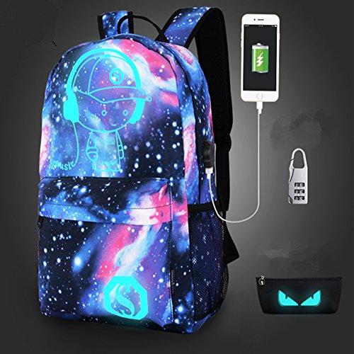 USB mochila moda luminoso, Nylon hombro bolsa portátil Luz Mochila Unisex Mochila escolar mochila de viaje (azul estrellada), Star Blue Music Kid .
