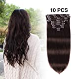 Remy Clip in Hair Extensions Brown 16 Inch #2 100 Gram 10 PCS