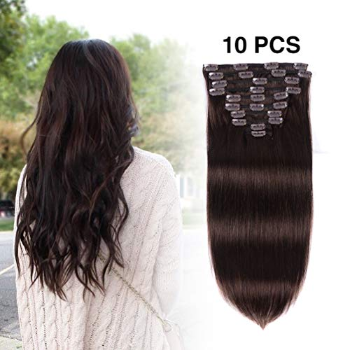 Real Clip in Hair Extensions Human Hair 16 inches Dark Brown  2 Color  10Pieces 100g Double Weft Soft Thick Straight Full Head Remy Human Hair  Extension for ... 385f56e96e