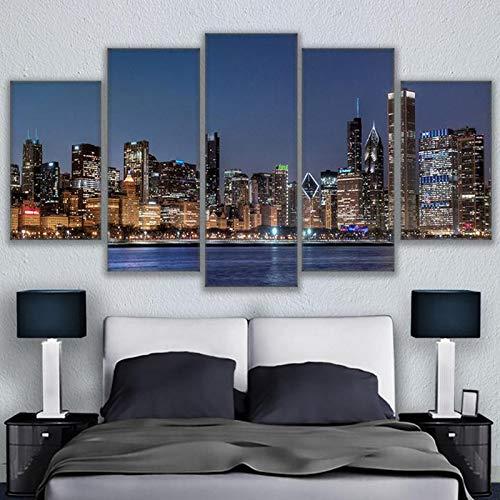 kxdrfz Leinwand Wandkunst Bilder HD Drucke Wohnzimmer Dekor 5 Stücke Chicago River Stadtbild Gemälde Rahmen Stadt Nightscape Poster-Frame