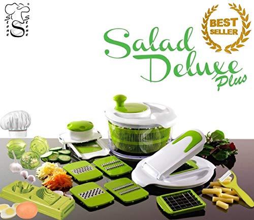 Salad Delux Plus by Stone&Stone - Ensaladera cortaverduras multifunción/centrifugadora de ensalada - Robot de cocina + picador de ajos + picador de huevo + pelapatatas de cerámica