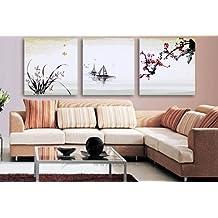 Lienzo de 3 piezas verde, cuadro de pared, enmarcado, estilo oriental, listo para colgar, marcos grandes de madera real #14-50