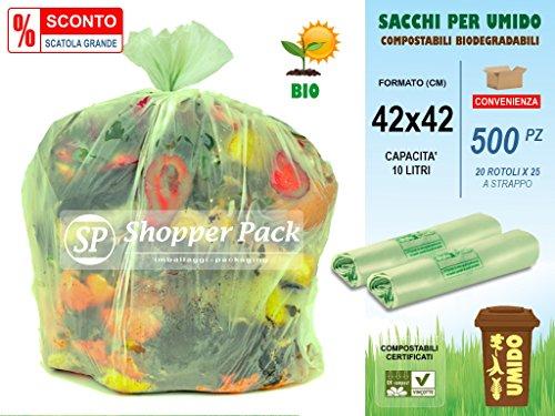 Scatola da 500 pz -sacchi per umido compostabili da 10 litri - cm 42x42 - n° 500 sacchetti (20 rotoli x 25) compostabili biodegradabili per raccolta differenziata dei rifiuti umidi-organici