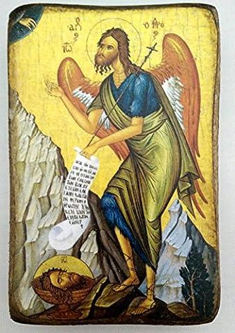 Wooden Greek Christian Orthodox Wood Icon of Saint John the