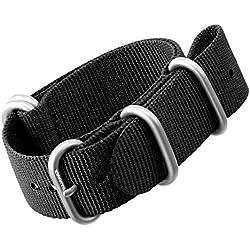 Nylon Watch Strap by ZULUDIVER®, Brushed ZULU Buckles, Black, 24mm