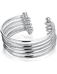 Bling Jewelry Stainless Steel Stardust Sparkle Bangle Stacked Cuff Bracelet