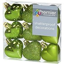 Decorazioni di Natale 9 Confezione da 40 mm Multi Finitura palline Cuore - mela verde