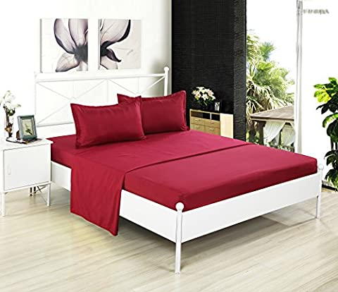 Kuality Bedding 4-Piece Bed Sheet Set (1 Fitted Sheet, 1 Flat Sheet, 2 Pillow Cases) Easy Care Anti-Wrinkle Stain & Fade Resistant, King Size, Burgendy