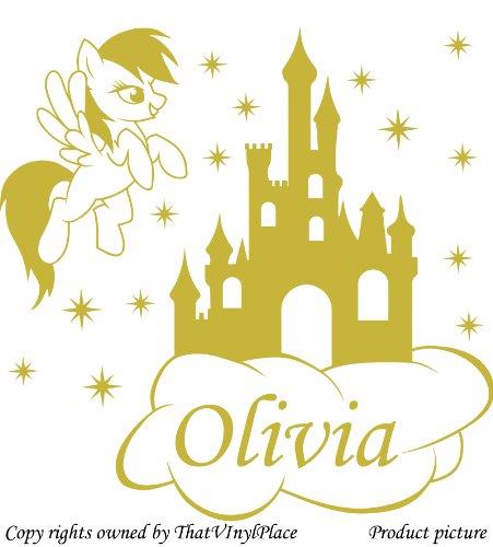 """Preisvergleich Produktbild Personaliced My Little Pony """", schloss Stars, Cloud, 60 cm x 60 cm, Farbe Metallic mit Wunsch-Namen, alle Namen, Disney, Kinderzimmer, Pferd, Kind-Raum Vinyl-Aufkleber Auto, Fenster und Wand Aufkleber, Wand Windows-Art ThatVinylPlace Wandtattoo,"""