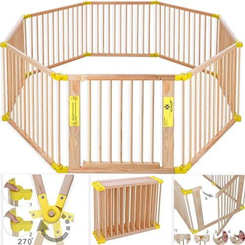 Kesser 7,2 Meter Laufgitter XXL klappbar, Bestehend aus 8 Elementen, inkl. Tür, Laufgitter Individuell formbar Laufstall Absperrgitter, Erweiterbar, Farbe:Gelb