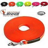 Extra leichte Schleppleine aus 16 mm Super Flex BioThane® / 1-30 Meter [3 m] / 6 Farben [Neon-Orange] / genäht / mit Handschlaufe