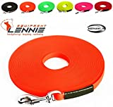 Extra leichte Schleppleine aus 13 mm Super Flex BioThane® / 1-30 Meter [10 m] / 6 Farben [Neon-Orange] / genäht / mit Handschlaufe