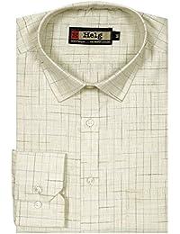 Helg Mens Formal Linen Checks Full Sleeves Comfort Fit Shirt