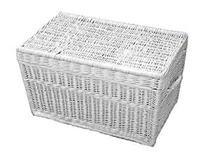 Panier en osier blanc 60 cm, Panier en saule Valise, panier de rangement coffre coffre en osier ...