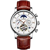 Luxury Design Men Mechanical Watch Automatic Business Style Genuine Leather Strap Round Dial Wrist Watch Best Gift