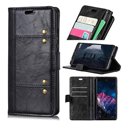 LMFULM® Hülle für Alcatel A7 5090Y (5,5 Zoll) PU Leder Magnetverschluss Brieftasche Lederhülle Korea Style Stent-Funktion Schutzhülle Flip Cover für Alcatel A7 Schwarz
