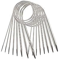 AIEX 8 Pezzi Acciaio Inossidabile Set Di Ferri Da Maglia Circolari Ferri Da Maglia Filati Per Progetto Di Tessitura(2 mm, 3 mm, 4 mm, 4,5 mm, 5 mm, 6 mm, 7 mm, 8 mm)