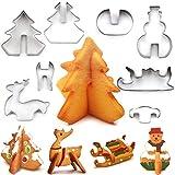 Nifogo Plätzchen Ausstecher Weihnachten, Ausstechformen Kinder, 8 Stück Edelstahl Keksausstecher, Fondant Ausstecher Backzubehör