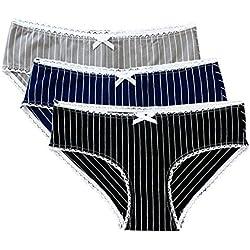 LHZY Womens Girls Cotton Underwear Bragas de Rayas de la Moda Bragas de Hipster Briefs con Encaje Trim Pack de 3