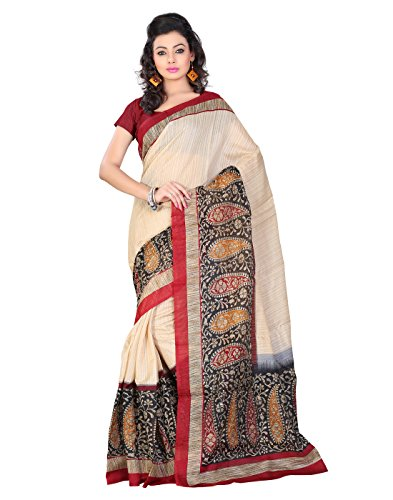 Saree Women's Beige , Black , Maroon | Silk | Floral Print Bollywood New Designer Collection Latest Fashion For party Wear in below Offer Price  available at amazon for Rs.455