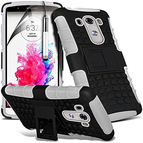 (Bianco) Copertura della prova della cassa della pelle LG G3 personalizzata Equipaggiata di protezione Shock, schermo di tocco penna stilo a scomparsa, schermo di tocco penna stilo a scomparsa e schermo LCD proteggi By Spyrox