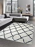 Shaggy Teppich Wohnzimmerteppich Hochflor Langflor Rauten creme schwarz Größe 120x170 cm