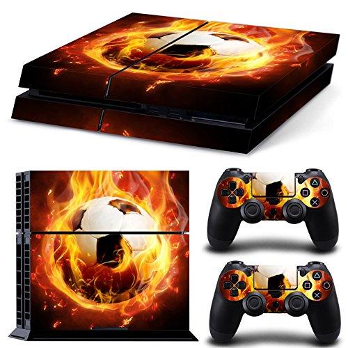 PlayStation 4 Designfolie Sticker Skin Set für Konsole + 2 Controller - Football Fire