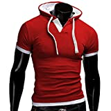 Angebote,Neue Deals,Herren T-Shirt Ronamick Männer Sommer mode mit Kapuze Pullover Herren Kurzarm-T-Shirt (Rot, M)