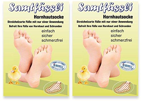 foot mask SamtFüssli - Hornhautsocke - Streichelzarte Füße mit nur einer Anwendung DOPPEL-Set DAS ORIGINAL DES TV-LIEFERANTEN!!!