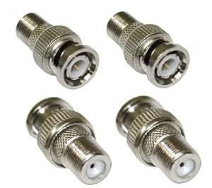 AERZETIX: 4x connecteurs raccord coupleur adaptateur fiche F femelle vers BNC CCTV DVR
