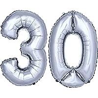 DekoRex® número globo decoración cumpleaños brillante para aire en argentado 40cm de alto No. 30